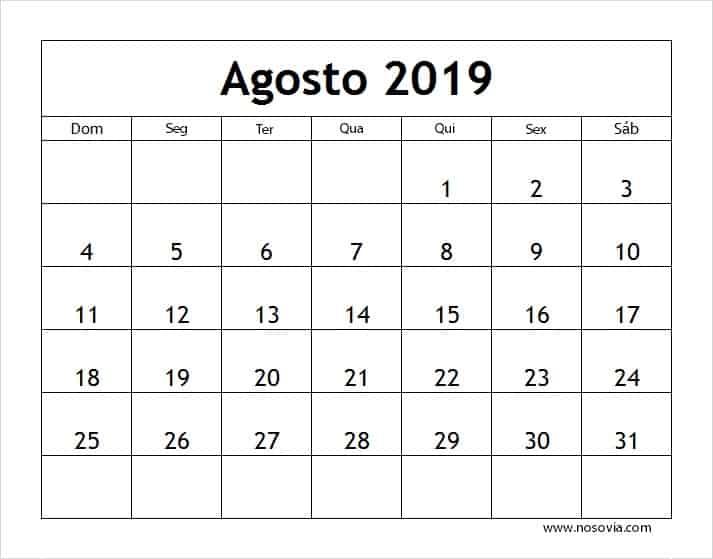 Calendário 2019 Agosto Feriados