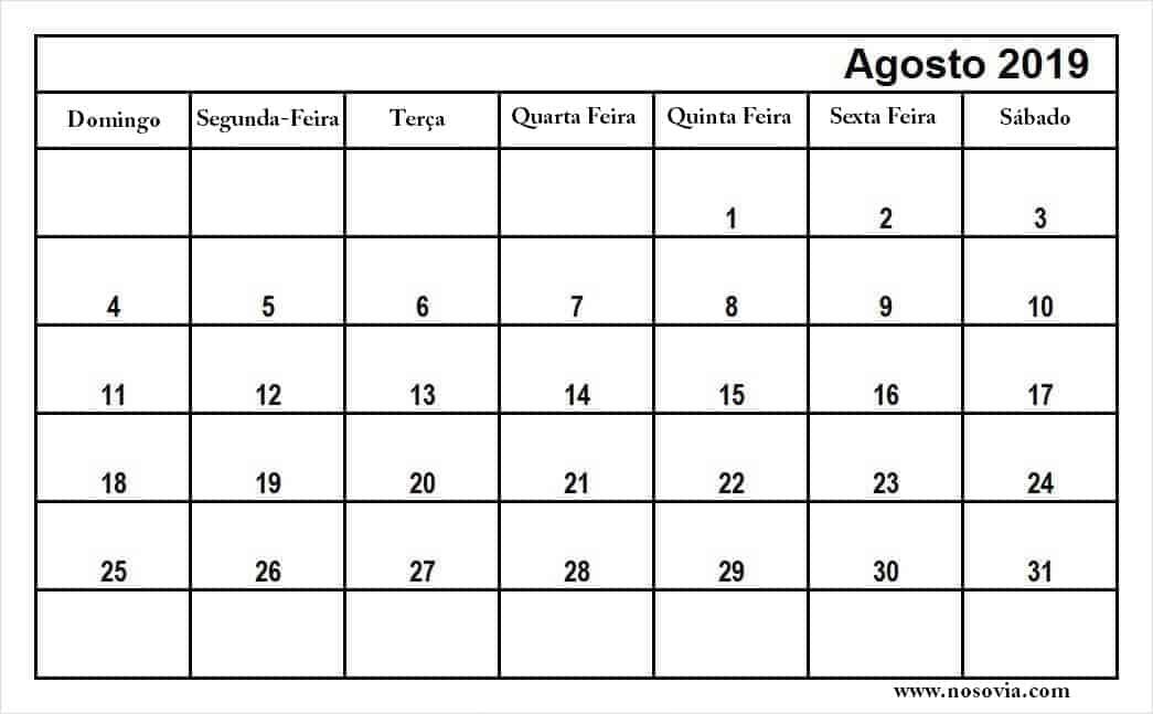 2019 Agosto Calendário Pormês