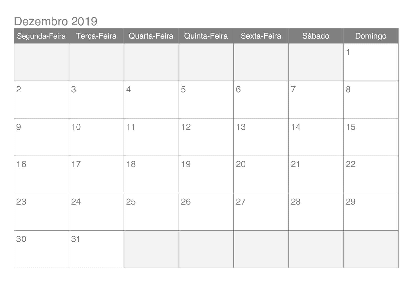 Calendário Imprimível Dezembro 2019