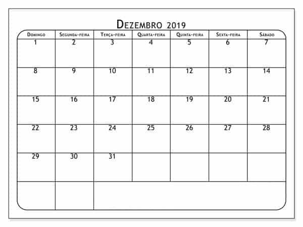 Imagens Calendário Dezembro 2019