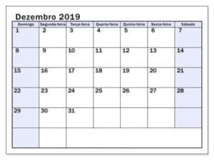 Modelo Calendário Dezembro 2019