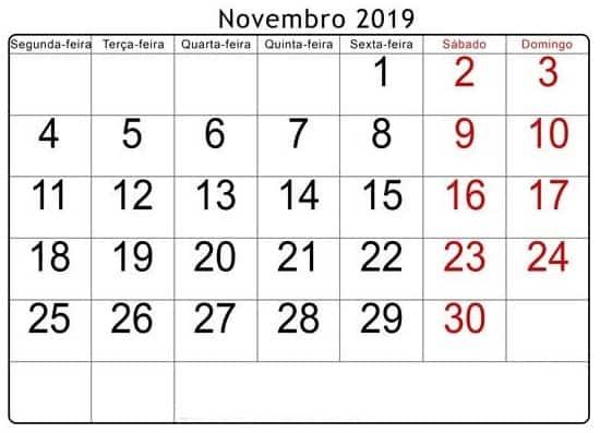 Calendário Novembro Imagens 2019
