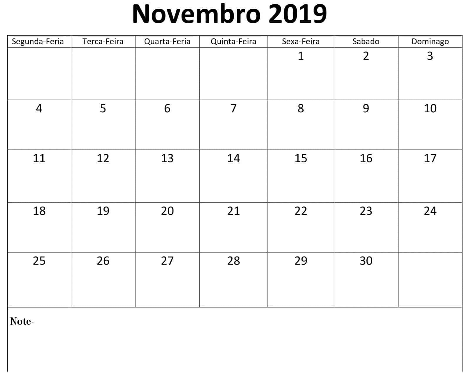 Imprimível Calendário Novembro 2019