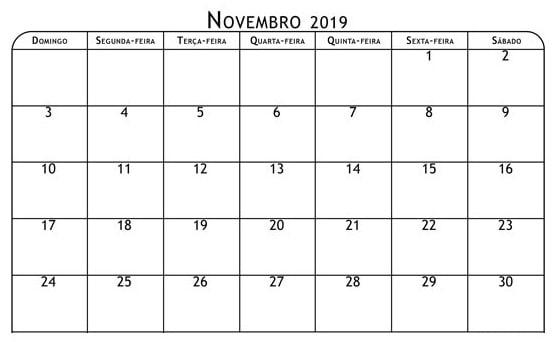 Calendário Mês Novembro 2019