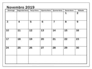 Calendário Pormês Novembro 2019