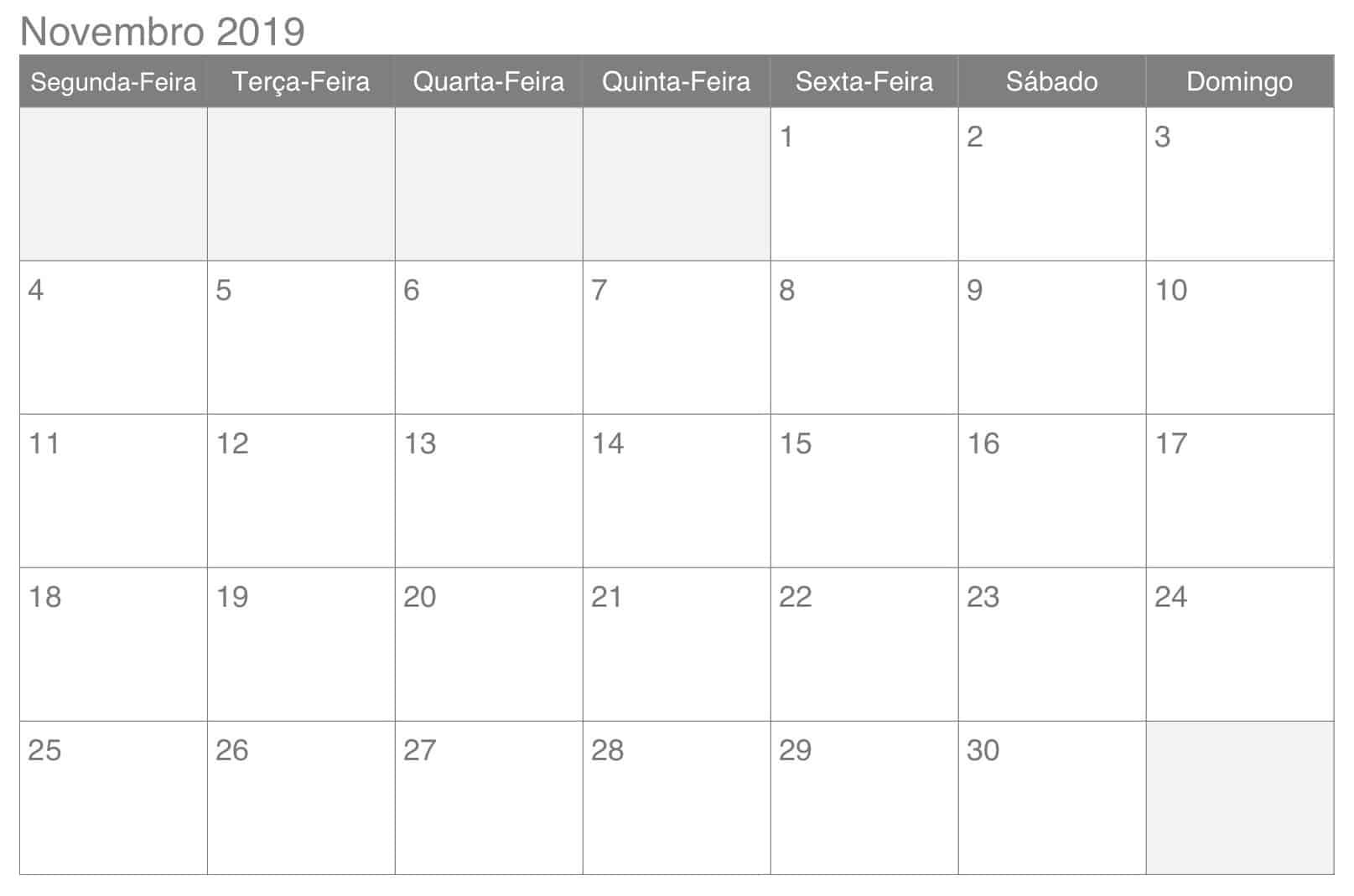 Calendário Novembro 2019 Editável
