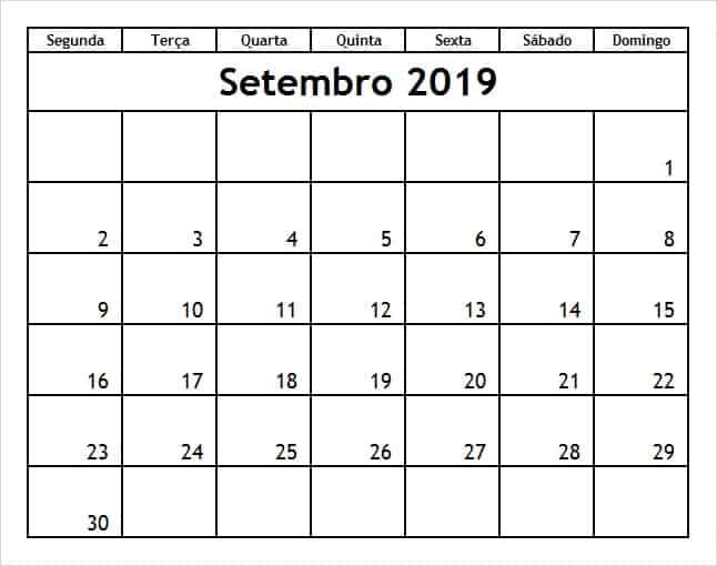 Setembro 2019 Calendário Mês