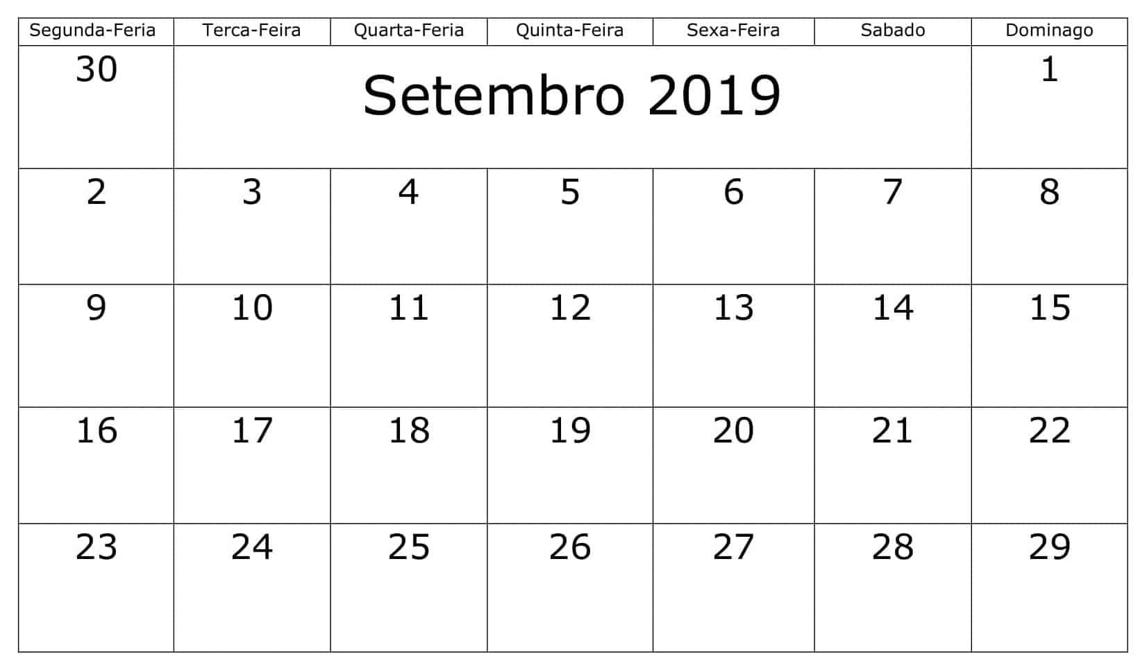 Setembro 2019 Calendário Imagens