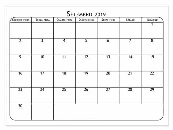 Calendário Setembro 2019 Setembro 2019
