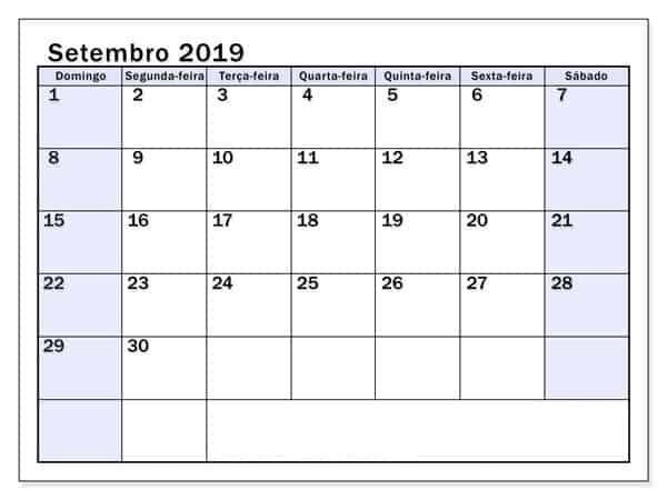 Setembro 2019 Calendário Mesa