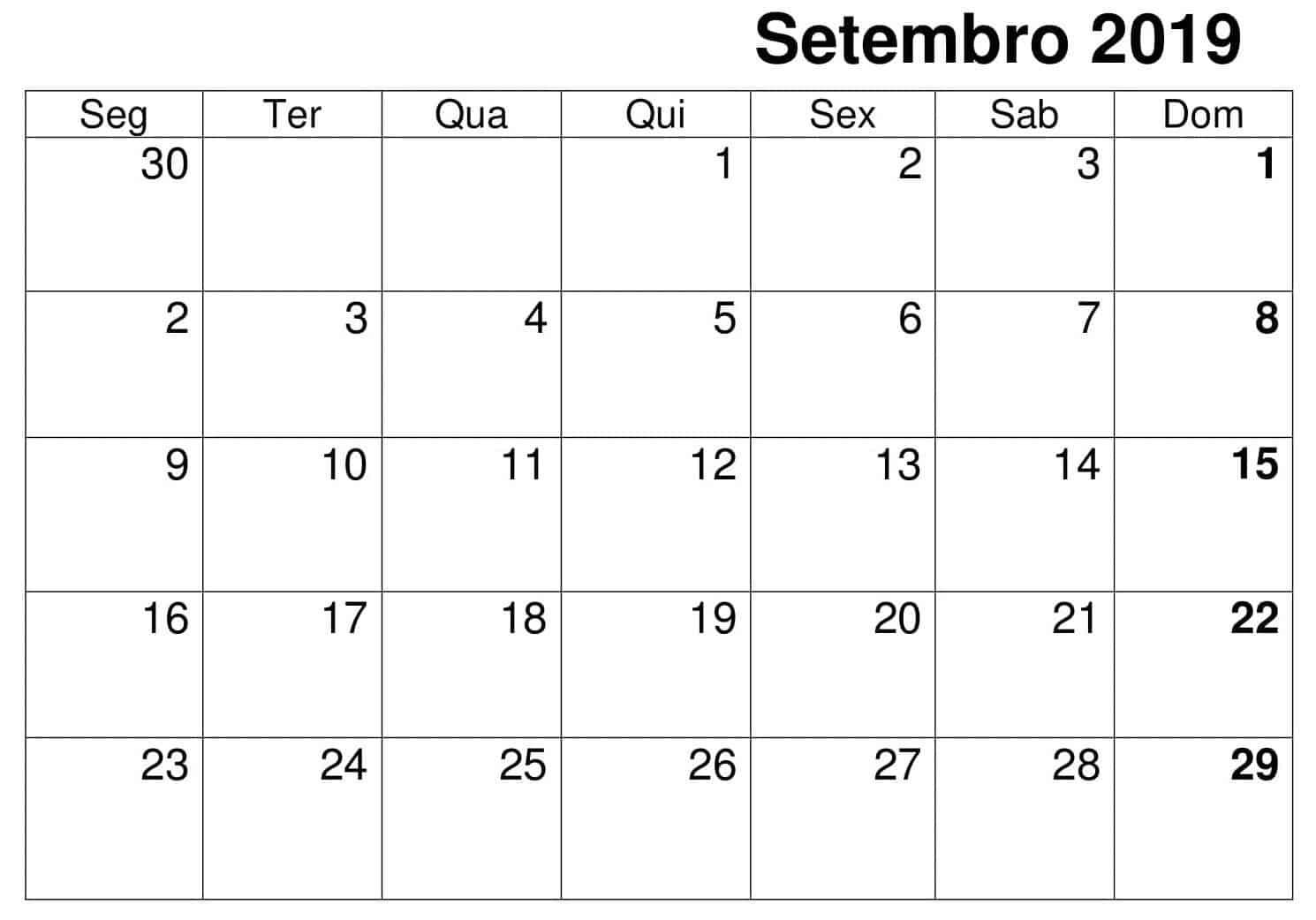 Imprimível Calendário Setembro 2019