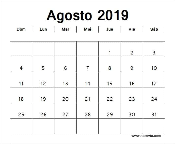 Agosto Calendario 2019