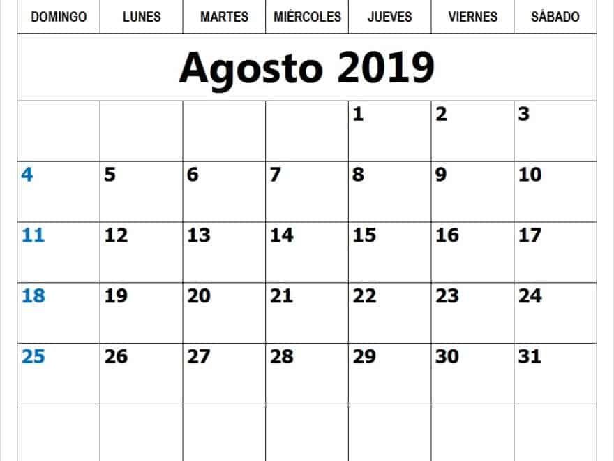 Diseño Calendario Agosto 2019