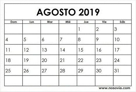 Calendario Agosto 2019 Descargar