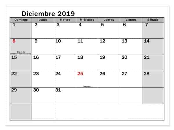 Mensual Calendario Diciembre 2019