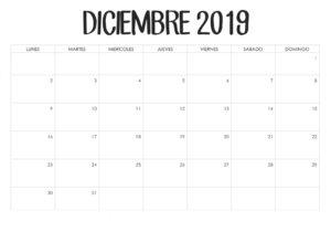 Diseño Calendario Diciembre 2019