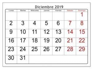 Estilos Calendario Diciembre 2019