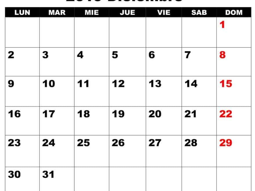 Calendario Grande Diciembre 2019