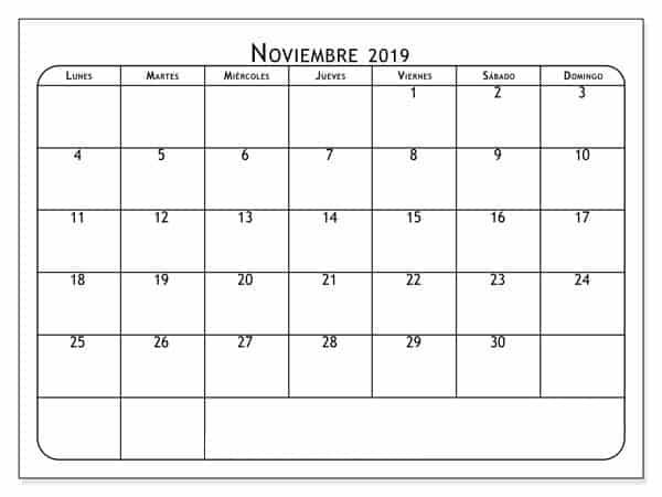 Calendario Noviembre 2019.Calendario Noviembre 2019 Diseno Nosovia Com