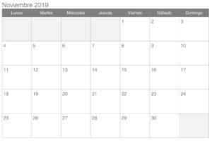 Calendario Noviembre 2019 Profesional