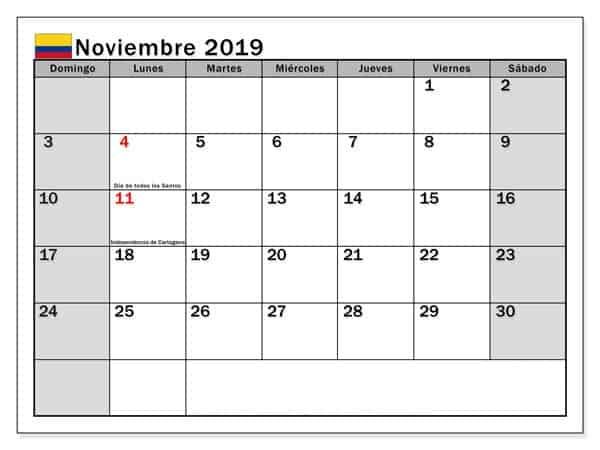 Calendario Estilos Noviembre 2019