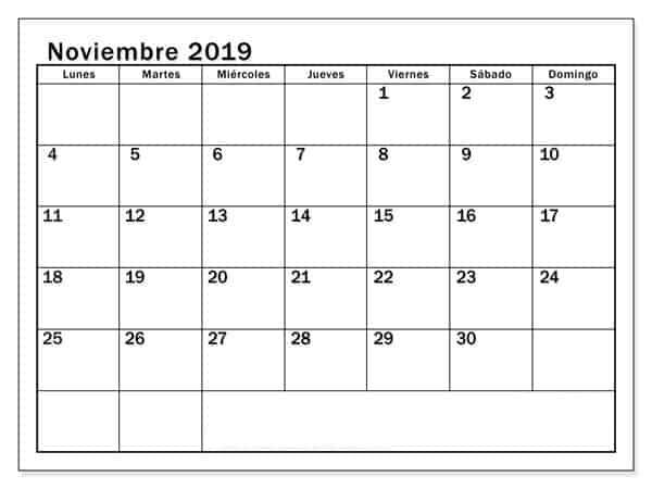 Vacaciones Calendario Noviembre 2019