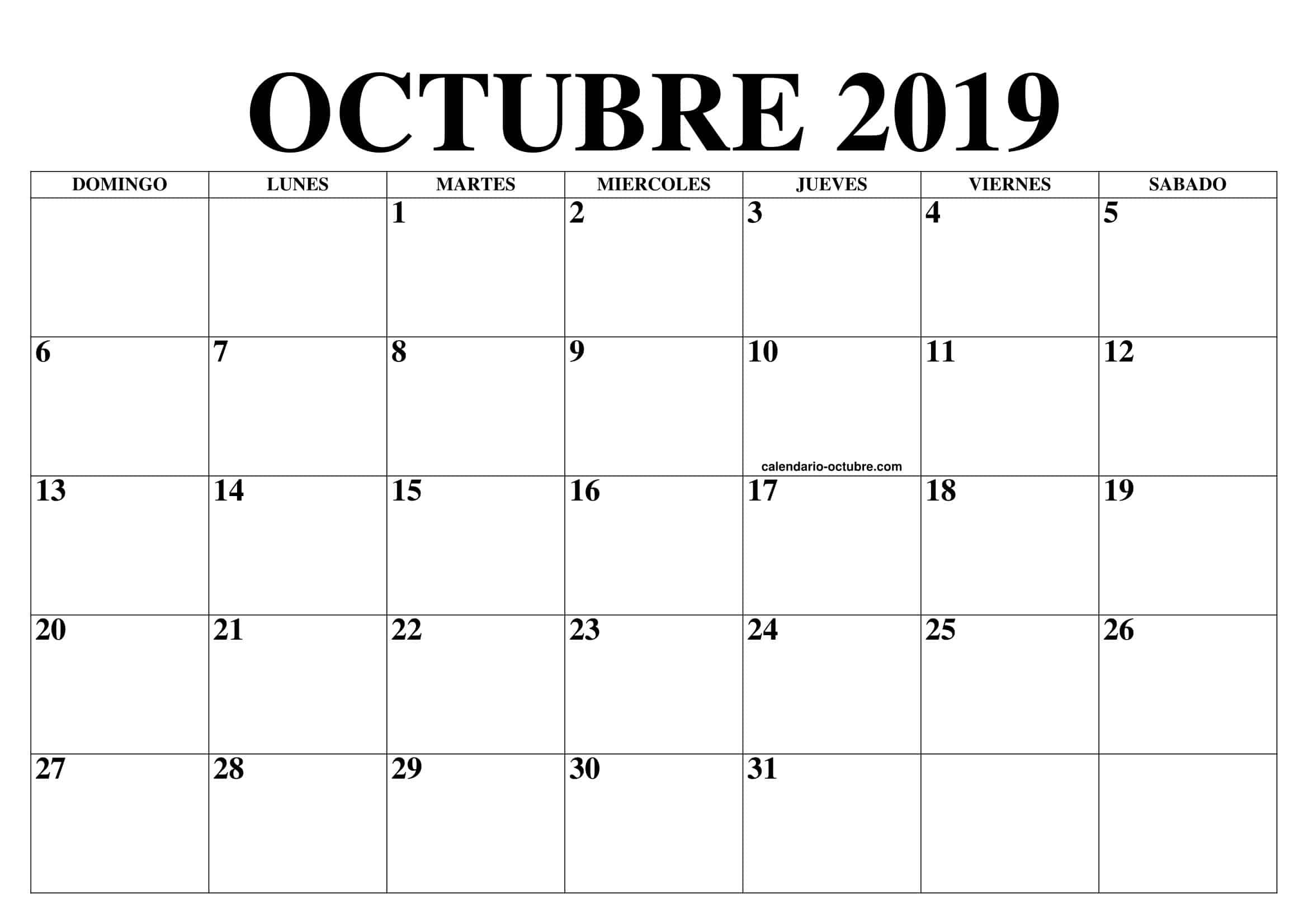 Calendario Vacaciones Octubre 2019