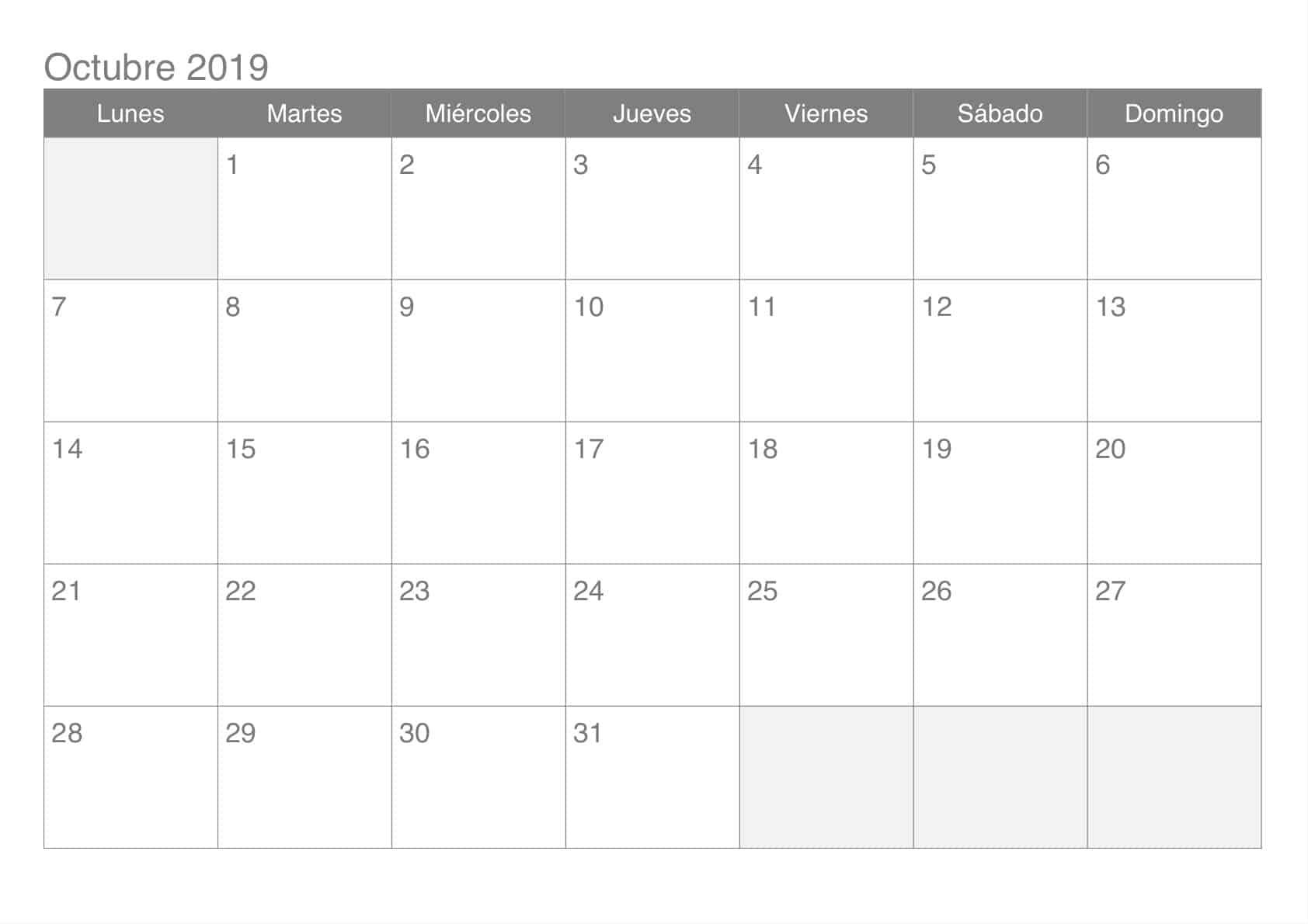 Calendario Octubre Estilos 2019