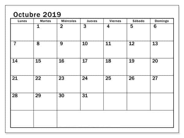 Editable Calendario Octubre 2019