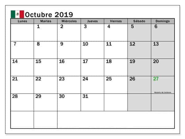 Calendario Octubre Diseño 2019