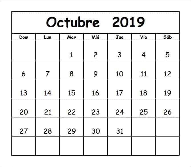 Calendario Mes Octubre 2019