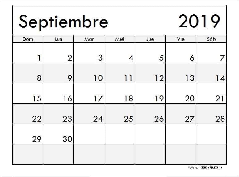 Vacaciones Calendario Septiembre 2019