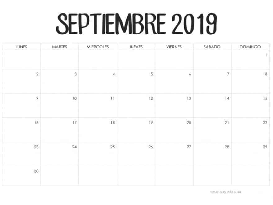 Calendario Con Notas Septiembre 2019