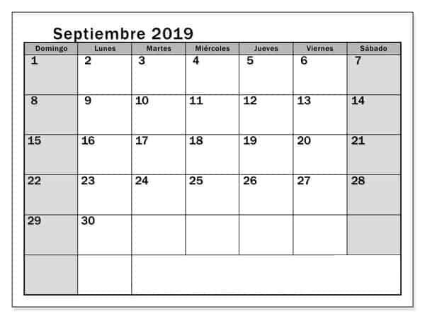 Septiembre 2019 Blanco Y Negro Calendario
