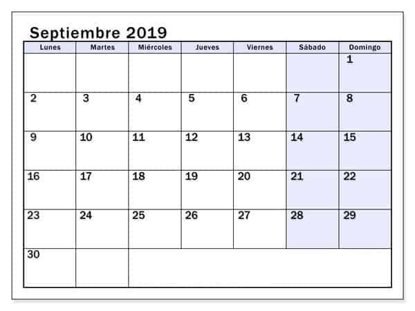 Calendario Diseño Septiembre 2019