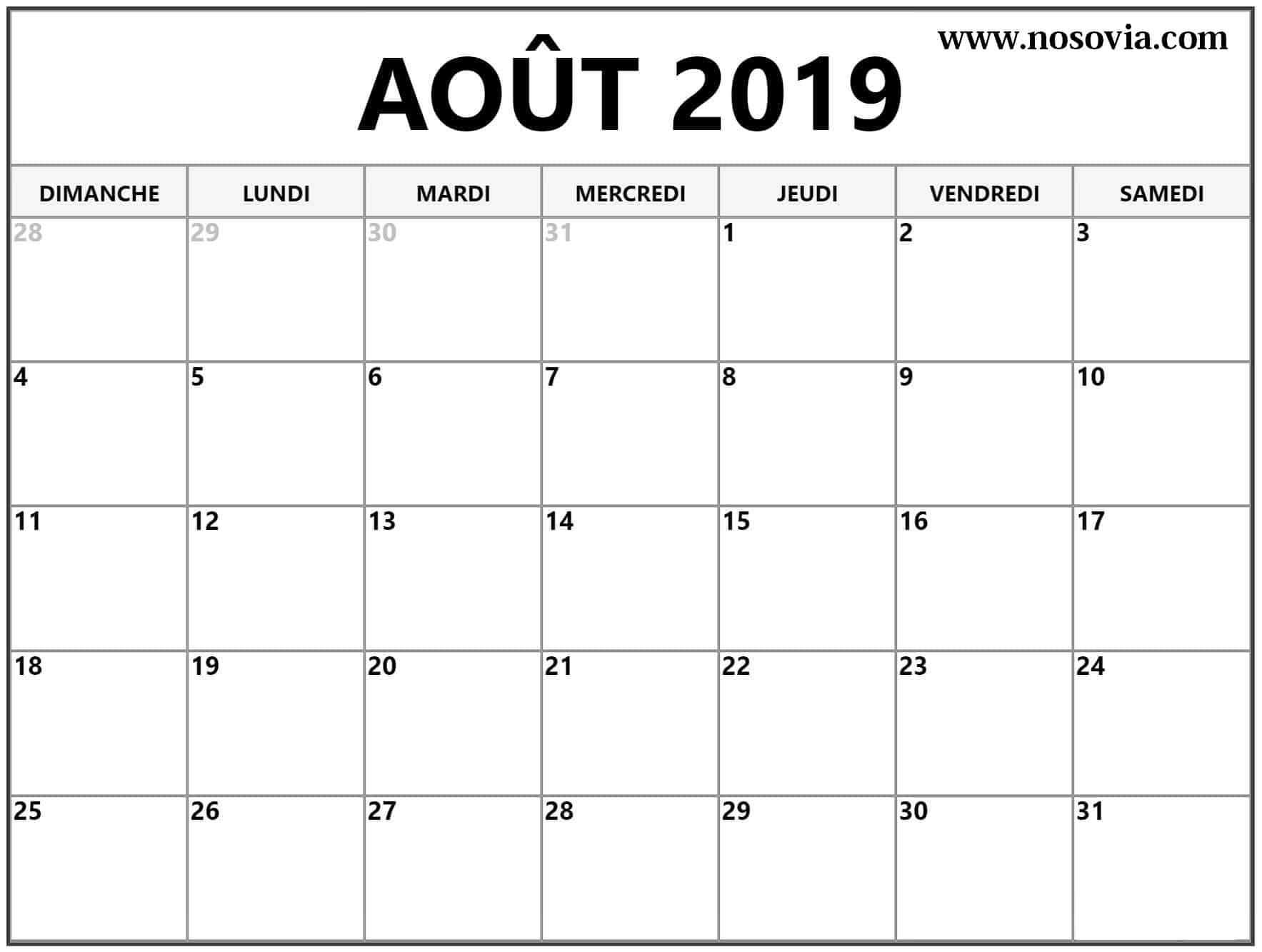 Calendrier Éditable Août 2019