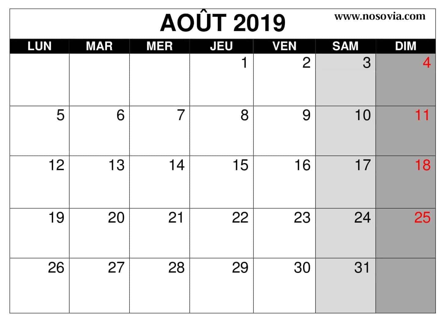 Vacances Calendrier Août 2019