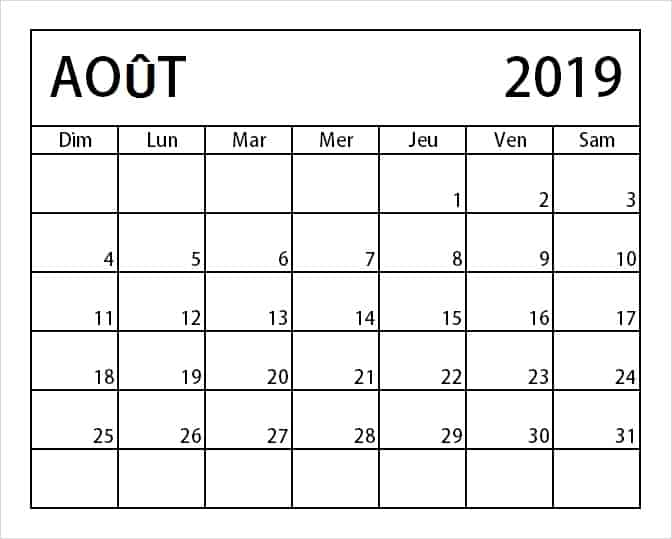 Calendrier Imprimable Août 2019