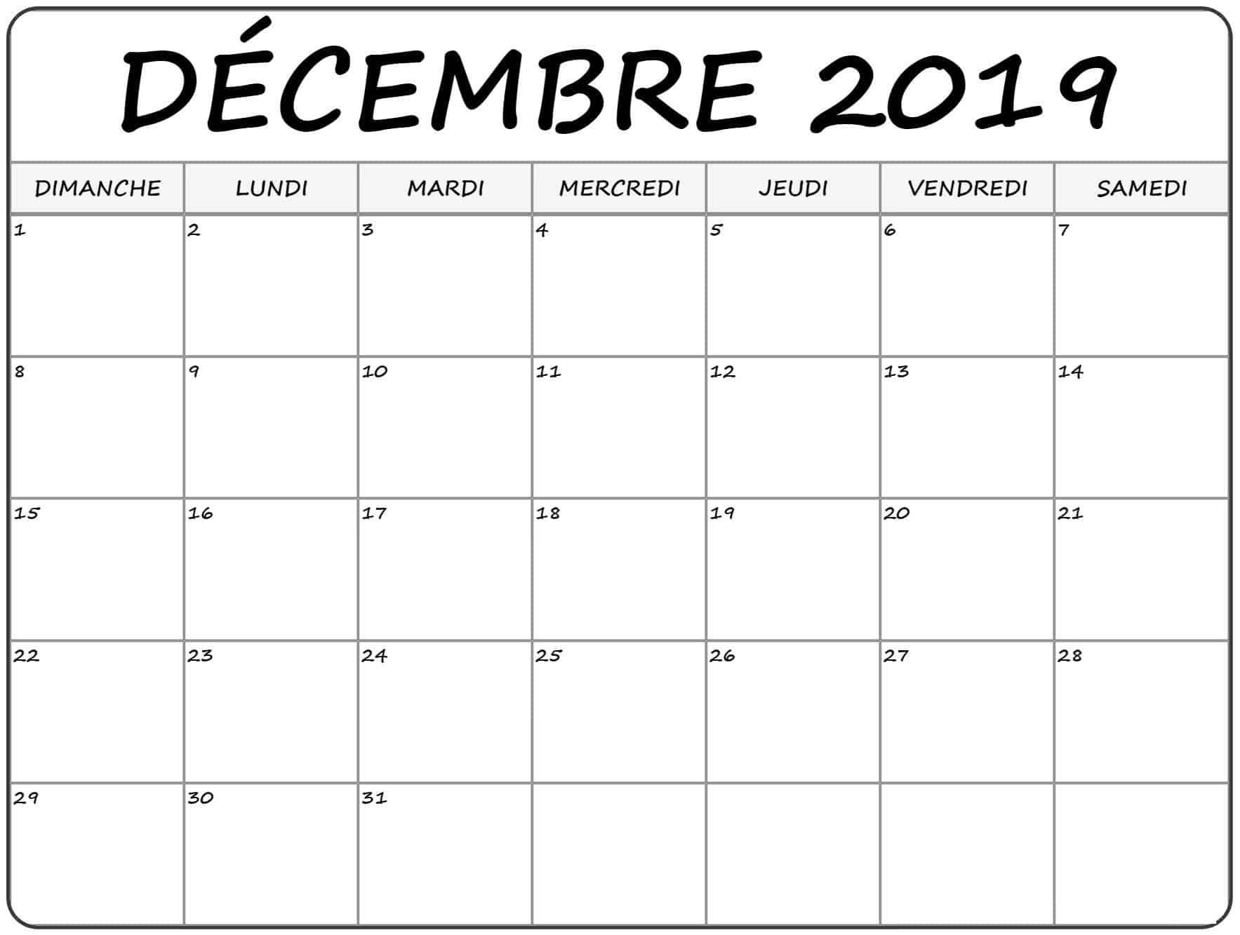 Imprimable Calendrier Décembre 2019