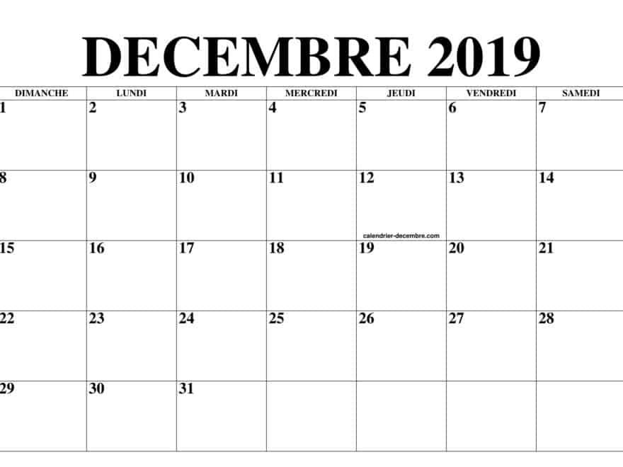 Mensuel Calendrier Décembre 2019