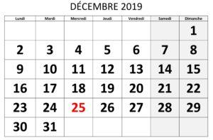 Éditable Calendrier Décembre 2019