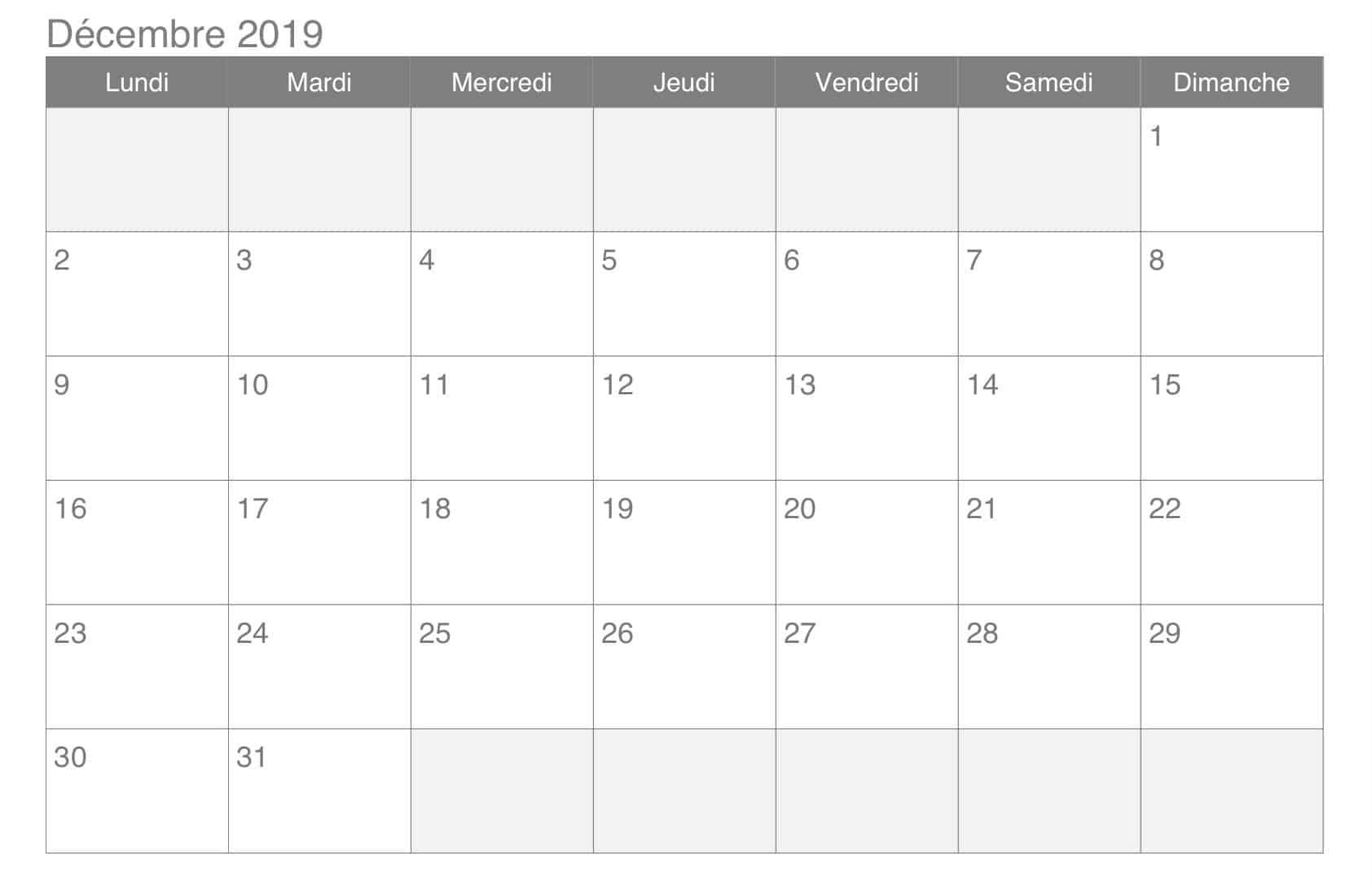 Avec notes Calendrier Décembre 2019