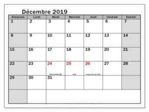Mois Calendrier Décembre 2019