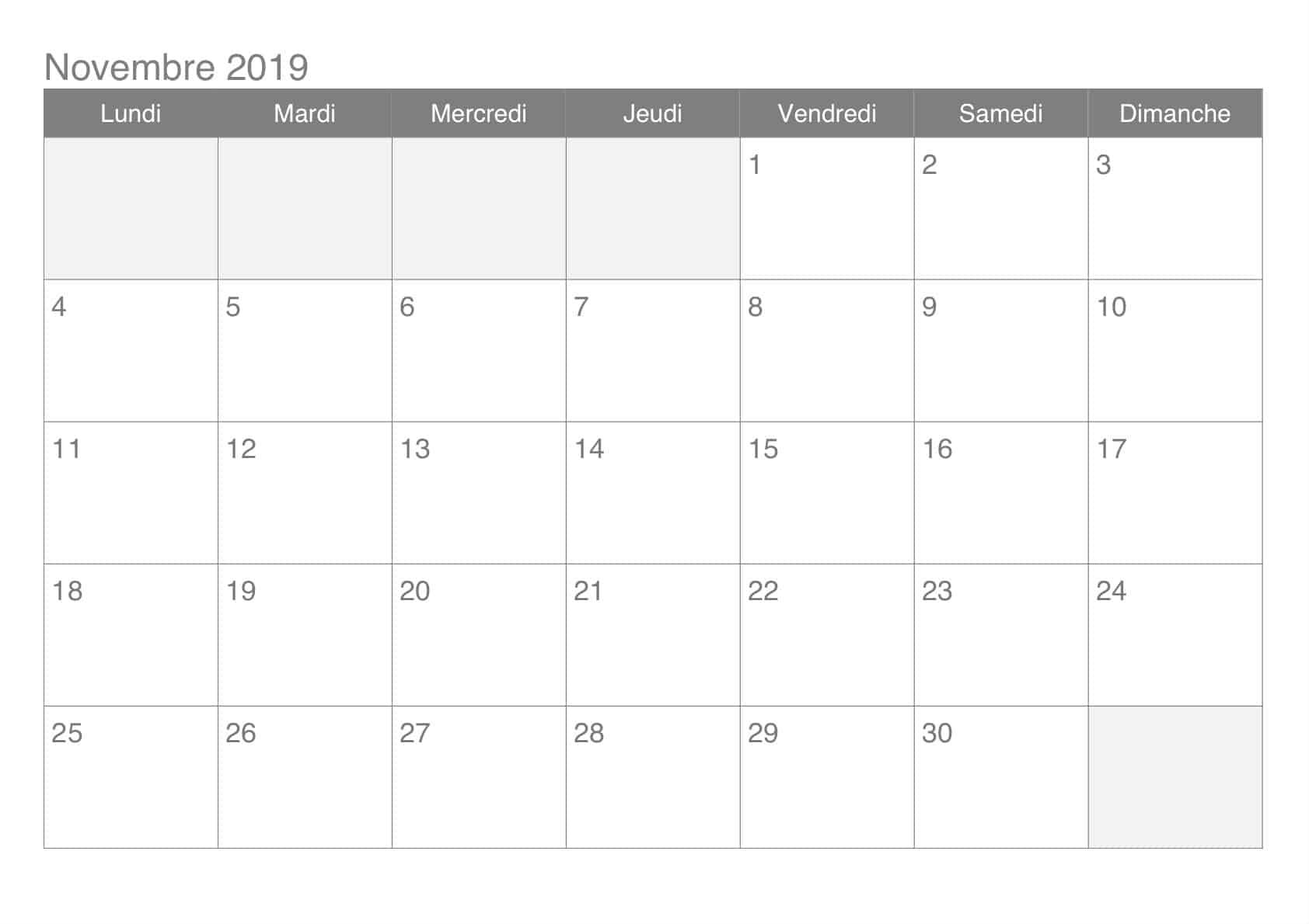 Calendrier Imprimable Novembre 2019
