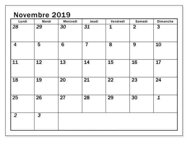 Mensuel Calendrier Novembre 2019