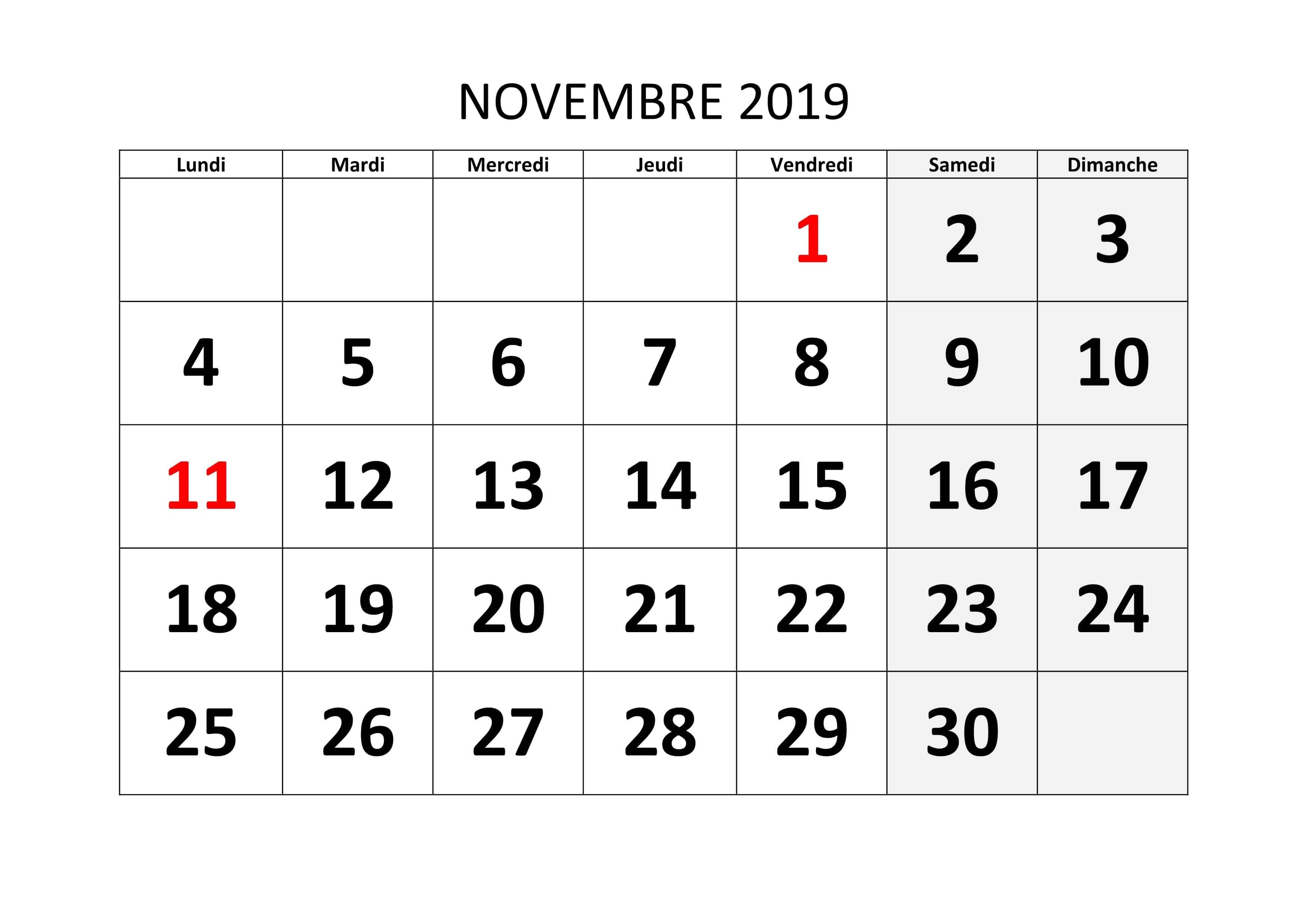 Calendrier Novembre Mois 2019