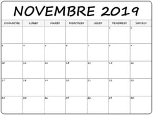 Éditable Calendrier Novembre 2019