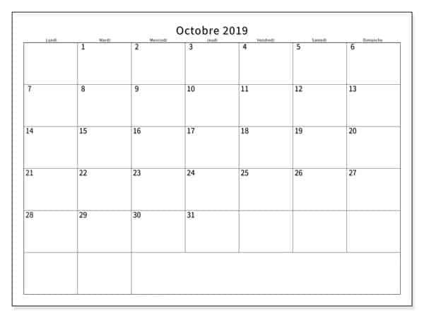Calendrier Éditable Octobre 2019