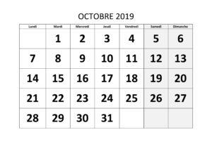 Calendrier Octobre 2019 Vacances