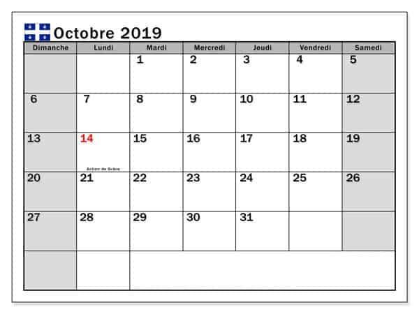 Calendrier Octobre Modèle 2019